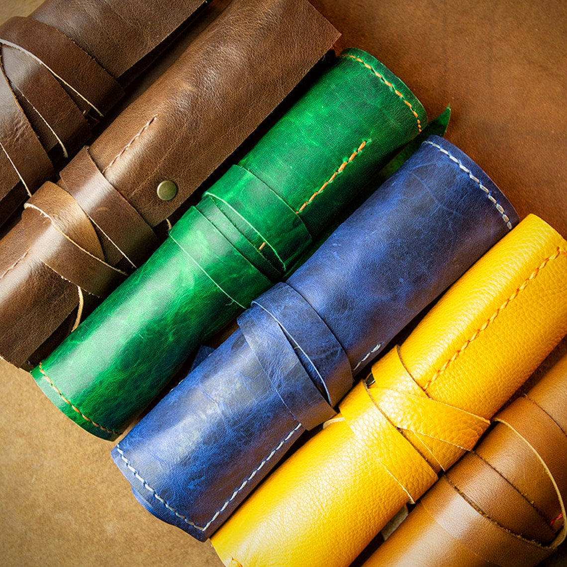 Travel Organiser - Make-up, Pen, Paintbrush Roll - Leather Artist Roll - Roll Pencil Case