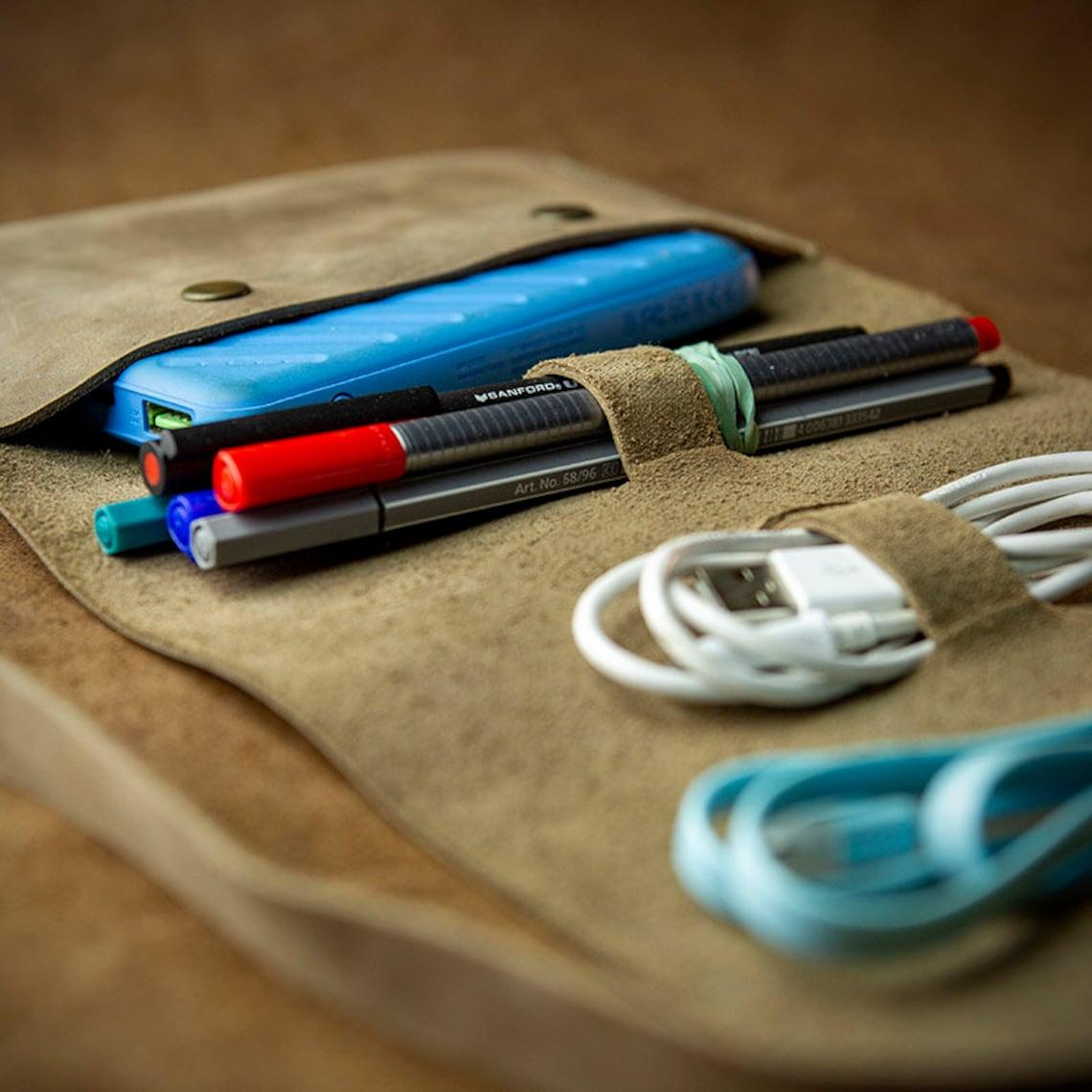 Handmade Leather Travel Organiser (with adjustable slots) - Handmade leather cable organiser