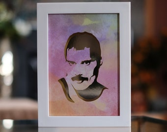 Freddie Mercury Papercut Shadow Box
