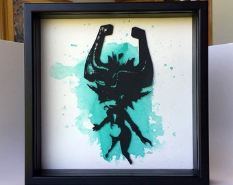 "Midna - Legend of Zelda Twilight Princess - Paper Cut 12 x 12"" Shadow Box"