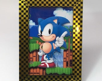 "Sonic the Hedgehog - Custom Print - Handcut Layered - 4x6"" Photo Frame"