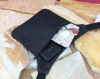 Hip bag, belly bag, belt bag, hipbag, jeans, black