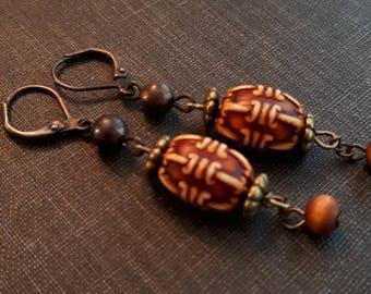 Rustic vintage bead earrings, boho earrings, yoga, upcycled, assemblage, repurposed jewelry