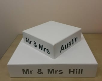 handmade wooden WEDDING CAKE STAND square centrepiece three sizes available professionally engraved fully assembled made to order