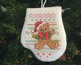 Christmas Teddy Bear Mitten Ornament