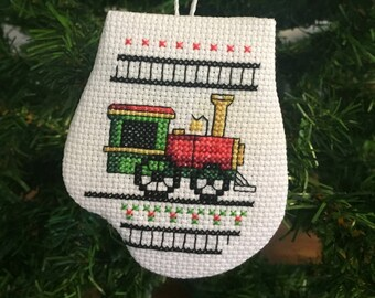 Christmas Train Mitten Ornament