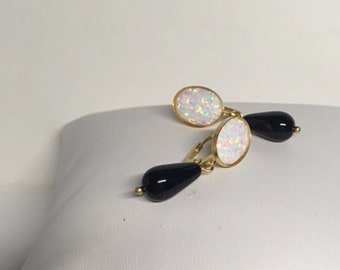 Opal and Onyx Earrings, 24kt gold plated-Original