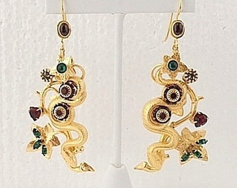 cda7e6e0882441 Snake Earrings in Garden, Ruby Red Art glass. 18kt Gold Plated - Unique-One  of a kind.