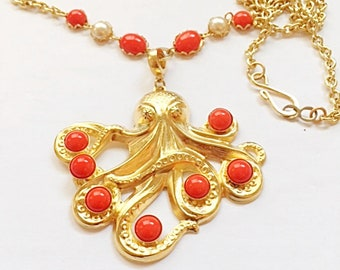 Octopus Necklace - 24kt gold plated, Handmade Original - One of a kind.