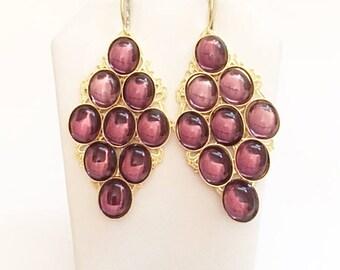 "Purple Earrings - 24kt. Gold Plated -Handmade - 2 1/2"""