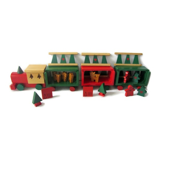 Christmas Train Set.Vintage Wood Train Set Christmas Train International Silver Co Christmas Decor Toy Wood Train Vintage Holiday Decor 90s Decor Playroom Decor