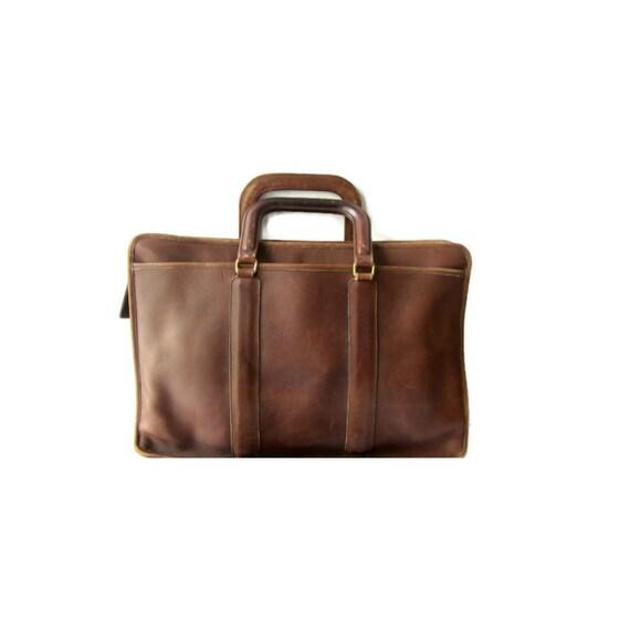 b4a3f4b87e49 Vintage Coach 70s Leather Briefcase Leather Coach Laptop Case