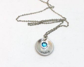 Name necklace, birthstone jewelry, hand stamped, personalized jewelry, goft for daughter, gift for her, Mother's Day, stamped necklace