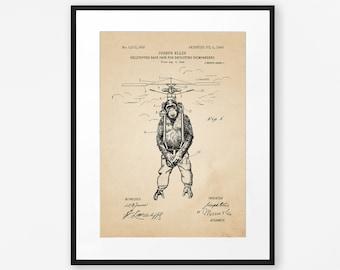 Funny Vintage Chimp Art Poster, Surreal Flying Monkey Patent Print