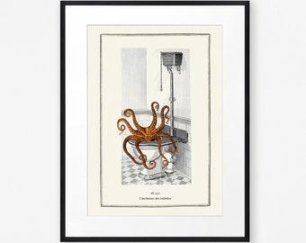 Funny Bathroom Octopus Print, Vintage Surreal Octopus Wall Art, Burnt Orange Bathroom Octopus