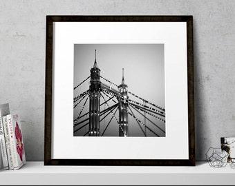 Square Print, London Bridge Wall Art, Albert Bridge, London Fine Art, Office Decor, City Photography, London Art, Architecture Print,