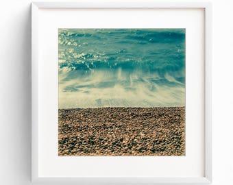 Coastal Art Print, Beach Photography, Teal Wall Art, Large Wall Art, Coastal Decor, Square Print, Bathroom Wall Art, Pastel Wall Art