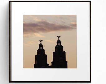 Liverpool Wall Art, Liver Building Print, Large Wall Art, Sunest Photograph, City Skyline, Office Wall Art, Fine Art Photograph