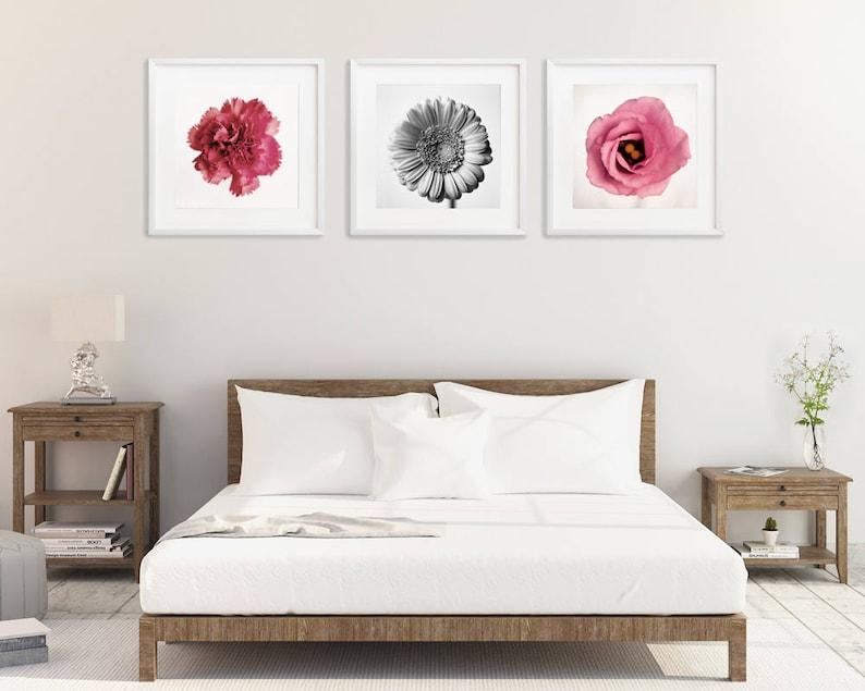 Set di 3 quadri stampe, camera da letto parete arte insieme, fiore stampe,  fiore fotografia, fiore moderna parete arte muro pastello, rosa fiore ...