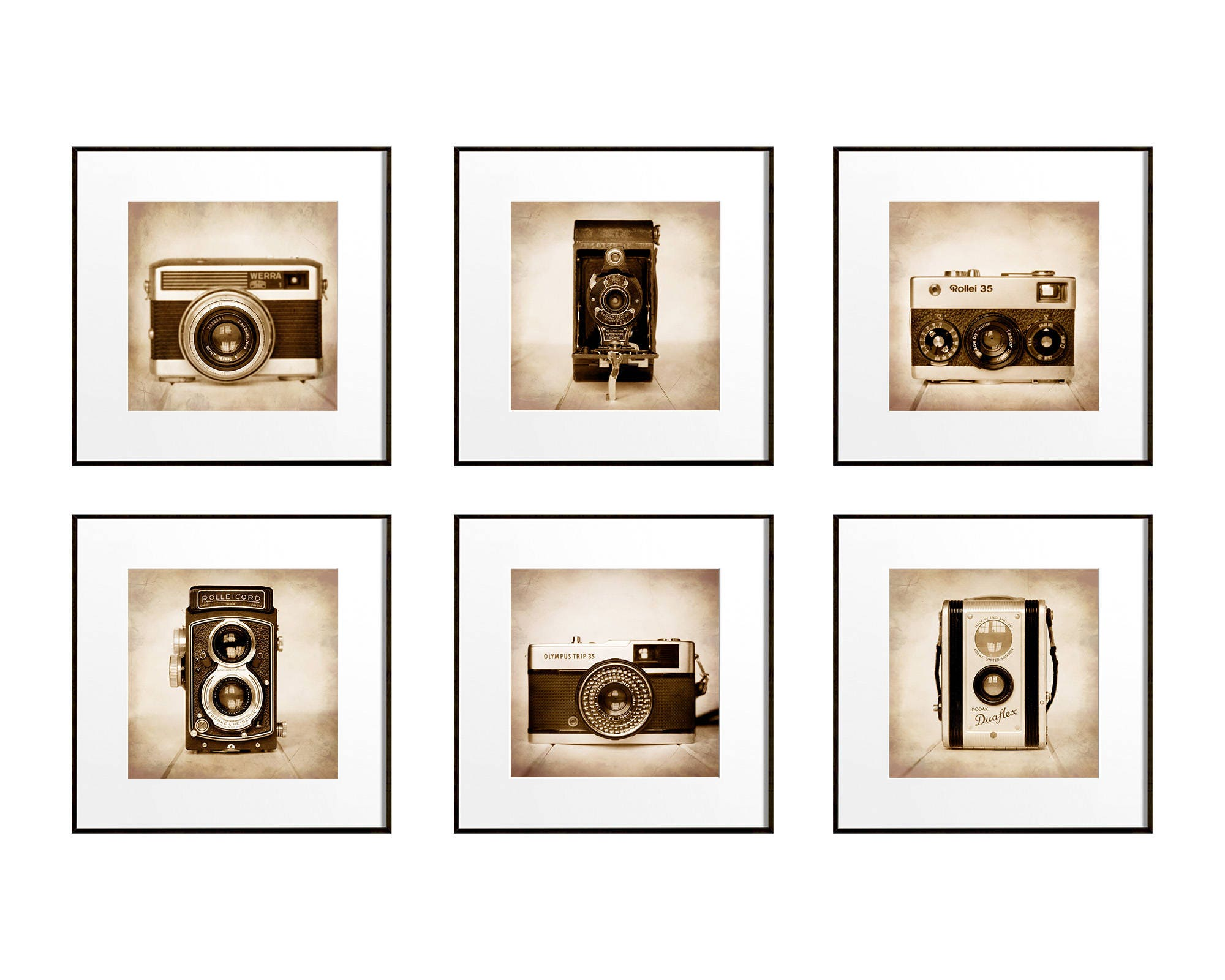 6 Camera Prints, Square Print Set, Camera Wall Art, Gift for Photographer,  Hipster Gift Ideas, Vintage Camera Art