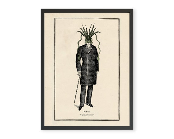Vintage Surreal Gothic Steampunk Lovecraft Cthulhu Wall Print Quirky Funny Gift