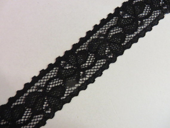 Français élastique dentelle Pointes Galon stretch en noir 14 cm large Lace