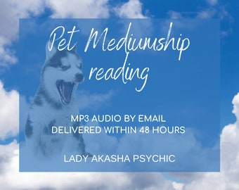 Top TV Psychic Pet Mediumship 3 or 5 question reading MP3 Audio, Fast Pet Mediumship Reading, Mediumship for animals, FAST pet reading