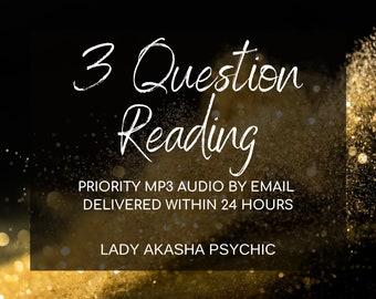 Top TV Psychic Same Day Psychic Reading, Tarot Reading by MP3, 3 Question Psychic Reading, Accurate Psychic Reading, Fast Reading by email