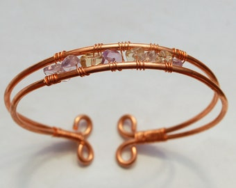 Copper and Ametrine Bracelet/Bangle Wire Wrapped