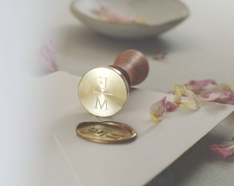 Seal stamp initials wedding modern simple 25 mm round