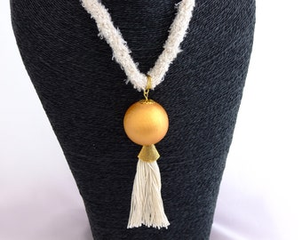 Hand braided necklace with tassel