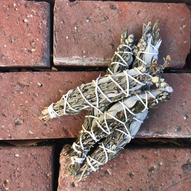 Reiki Infused White Sage Lavender Rosemary Smudge Stick - sage bundle -  lavender smudge - rosemary smudge - smudge stick - smudging
