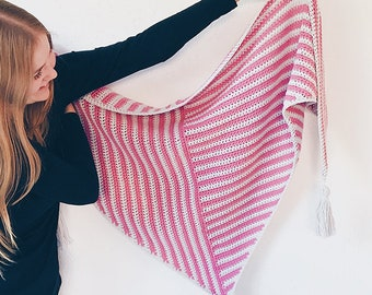 Stripe Me Shawl - crochet triangle shawl pattern - wearable scarf knit