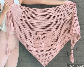 Bella Rosa Shawl - crochet pattern - bottom-up triangle shawl - filet crochet with roses/flowers - scarf/wrap/shawlette for beginners