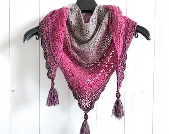 Ana Lucia Shawl - crochet triangle shawl pattern - wearable scarf knit