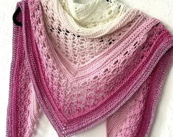 Vela Flower Friend Shawl 2 - crochet flower shawl PDF pattern - wearable triangle shawlette scarf with flower stitch