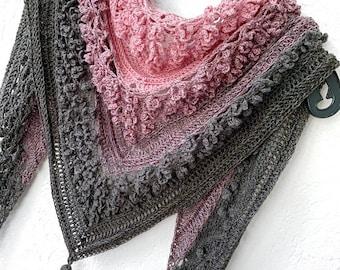 Vela Flower Friend Shawl 1 - crochet flower shawl PDF pattern - wearable triangle shawlette scarf with flower stitch