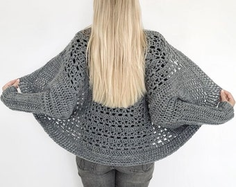 Crochet cardigan shrug (S-5XL) for beginners - Easy short vest garment for beginners made with Lionbrand Touch of Alpaca