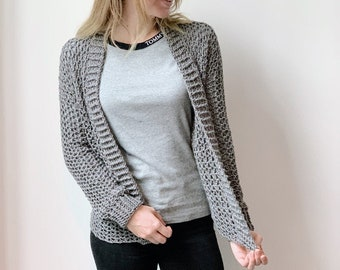 Easy crochet cardigan for beginners - short cardigan garment vest for beginners  made with Lionbrand Touch of Merino Katia
