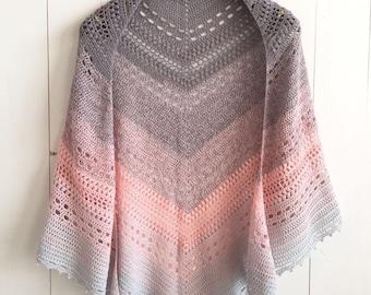 Bella Vita Shawl - crochet shawl PDF pattern - wearable shawl triangle scarf knit