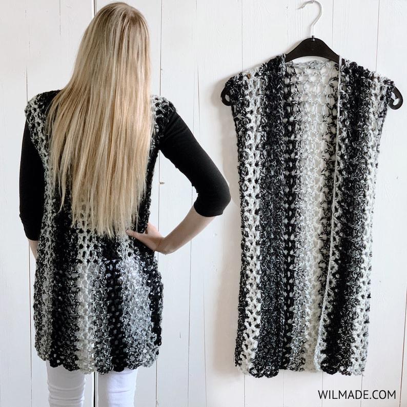 Crochet Sleeveless Vest pattern  long cardigan garment made image 0