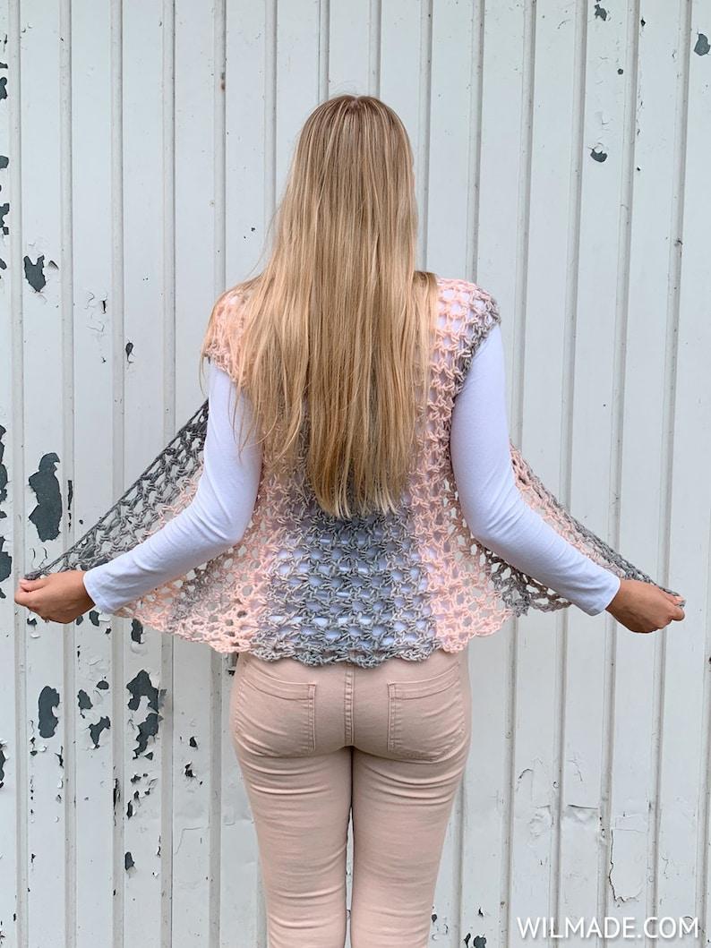 Crochet Sleeveless Vest pattern  short cardigan garment made image 0