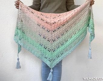 Jaycee Butterfly Shawl - Easy crochet wrap for beginners - simple, beginner-friendly scarf with butterfly crochet stitch