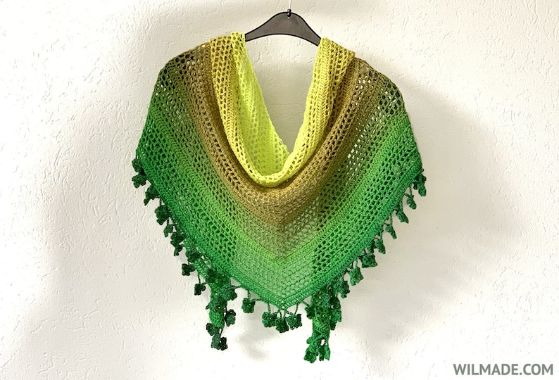 Wish Me Luck Shawl  crochet triangle shawl scarf wrap  St image 0