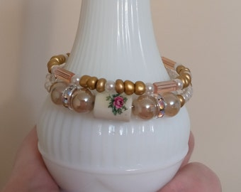 OLIVINE PEARL Bracelet with TENSHA heart pearl bracelet Vermeil clasp Olivine Bracelet gift Tensha heart embellishment mom friend you
