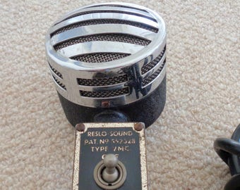 SALE!! 1960s Reslo Sound VMC Dynamic Microphone. Chrome. Patent Number 552328. Display item.