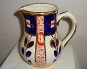 Sudlow Pottery Imari Gaudy Welsh Style Jug Pitcher. Made in Staffordshire, England.
