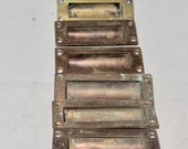 Six Recessed Brass Cupboard Drawer Finger Pull Handles. Vintage Home Décor. 8.3cm or 3 1 4 Inch