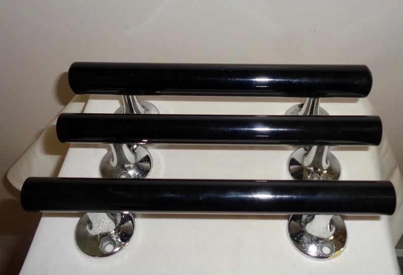 Three Black Plastic & Chrome Vintage Cupboard/Drawer Handles. image 0