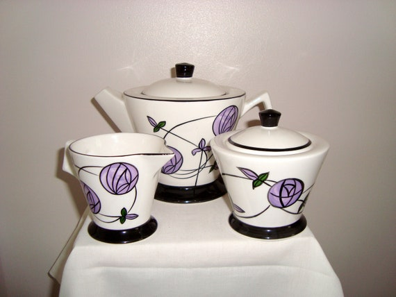 Charles Rennie Mackintosh Inspired Design Tea for One Fine China Cup Saucer /& Teapot Set